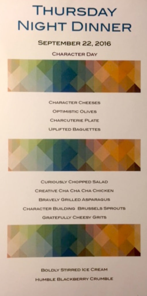 Menu created by Mary Austin for her Character Day dinner party.